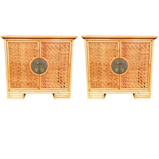 Chinoiserie Woven Bamboo Chest - A Pair