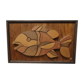 Wooden Mosaic Fish Sculptural Art Piece
