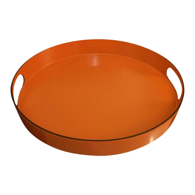 Hermes Style Orange Lacquer Serving Tray - Image 1 of 10