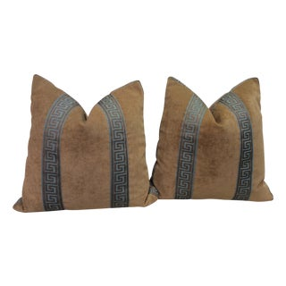 Greek Key Band Pillows - A Pair