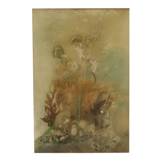 Vintage Ocean Motif Panel With Coral And Seahorse