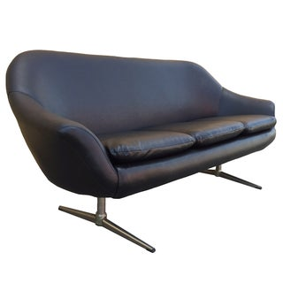 Vintage Overman Black Vinyl Sofa
