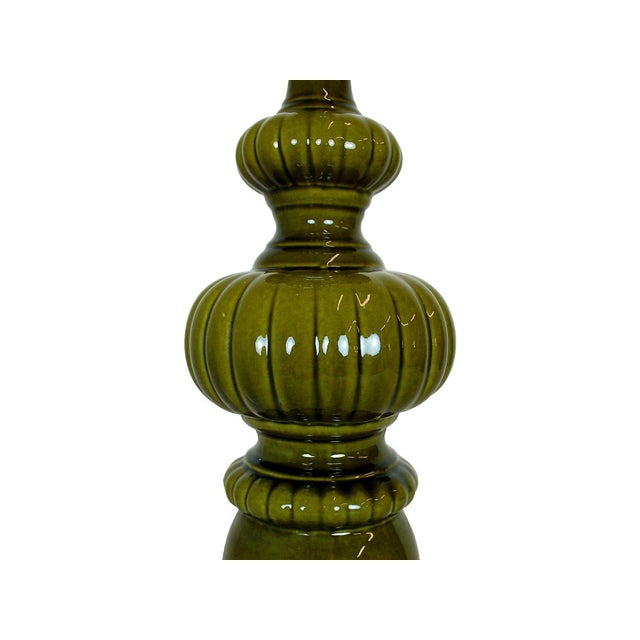 Image of Mid-Century Modern Green Pottery Lamp