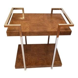 Milo Baughman Style Burlwood and Chrome Bar Table