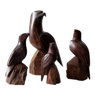 Vintage Wooden Eagle Statues- Set of 4