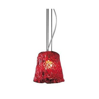 Glass Shade Suspension Lamp in Red/Chrome