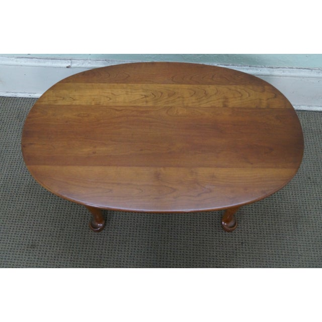 Stickley Solid Cherry Queen Anne Coffee Table - Image 4 of 10