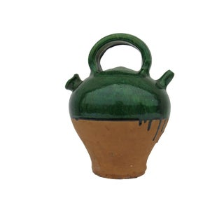Antique French Green Glazed Terracotta Water Jug