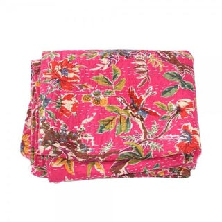 Pink Floral Kantha Throw - Queen