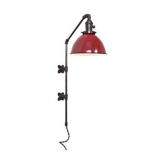 Brass Plumbing Pipe Sconce - Red Dome