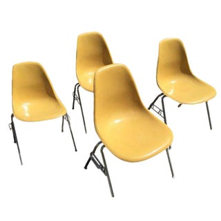 Vintage Eames Yellow Shell Chairs - Set of 4