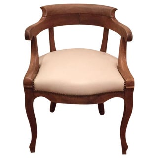 Italian Wood and Leather Arm Chair