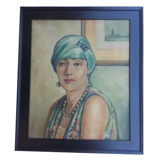 Art Deco Oil Painting Portrait - Woman In A Turban