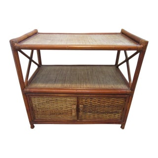 Vintage Mid-Century Rattan & Wood Buffet or Bar
