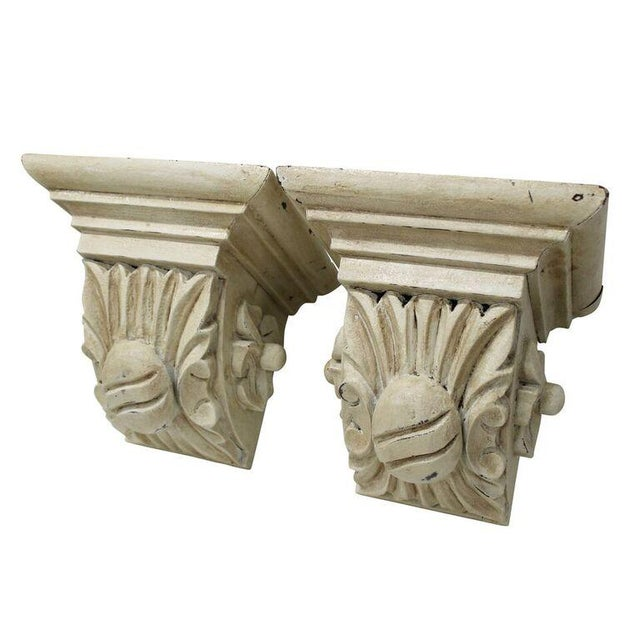 Carved Cream Corbels - a Pair - Image 2 of 3