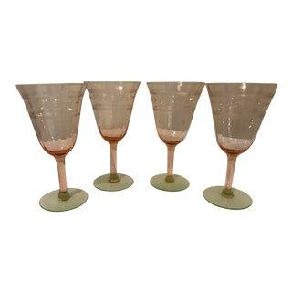 Pink & Green Crystal Goblets - Set of 4