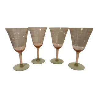 Pink & Green Crystal Goblets - Set of 4