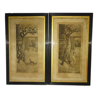 1880s Frank Paton Dogs Chasing Cats & Birds Engravings - A Pair