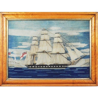 British Sailor's Woolie Woolwork of a Royal Navy Ship, Circa 1865-75.