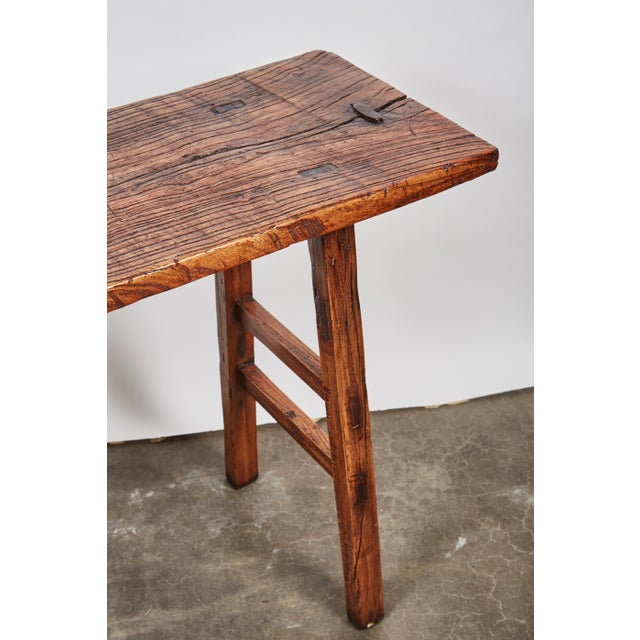 Early 19th Century Chinese Simple Side Table with a Long Single Hand of Deep Brown Elm Wood - Image 6 of 7