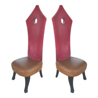 Hollywood Regency Tall Back Chairs- A Pair