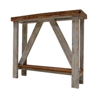 Repurposed Barn Wood White Washed Hall Entry Table