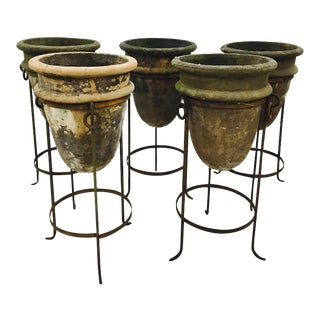 Planters in Forged Iron Stands - Set of 5