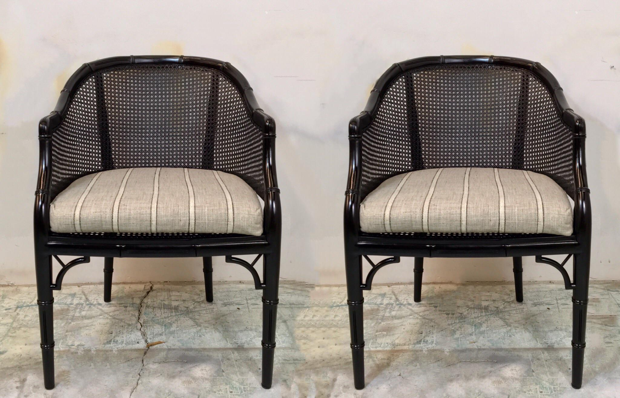 Lacquered Faux Bamboo Chairs   A Pair   Image 2 Of 7