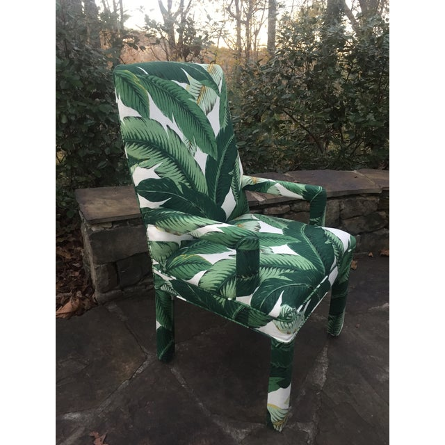 Palm Leaf Upholstered Parsons Chair Chairish