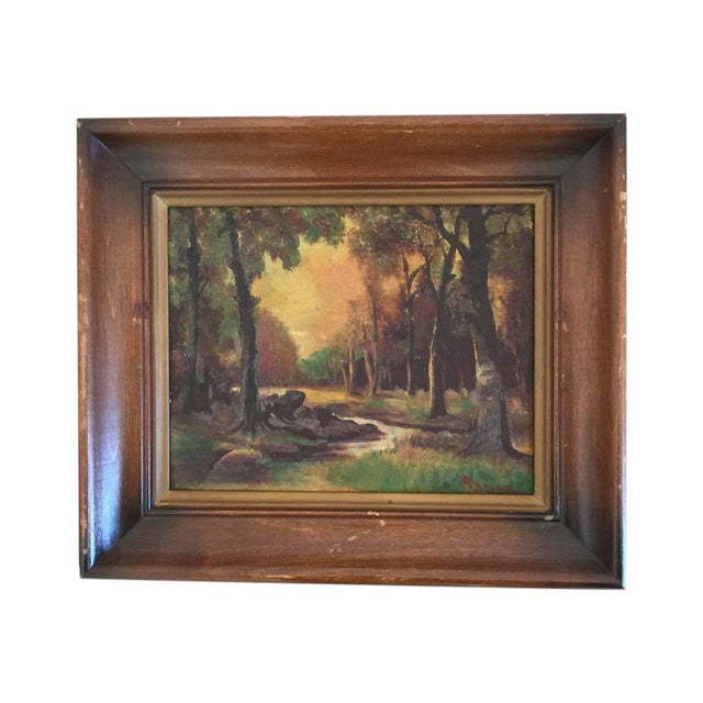 Image of Woodsy Landscape With Sunset, Painting