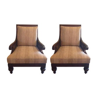 Ethan Allen Rattan & Cherry Wood Accent Chairs - A Pair