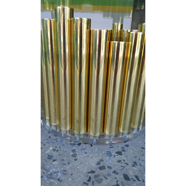 1980's Karl Springer Style Brass Lucite & Glass Cocktail Table - Image 6 of 10