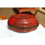Image of Chinese Red Lacquer Lozenge Shaped Box