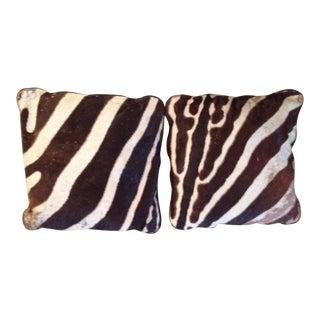 Zebra Hide Pillow Cushions - A Pair