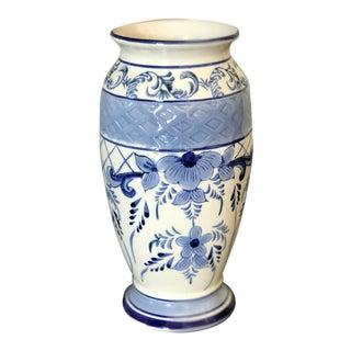 Vintage Delft Blue and White Floral Vase
