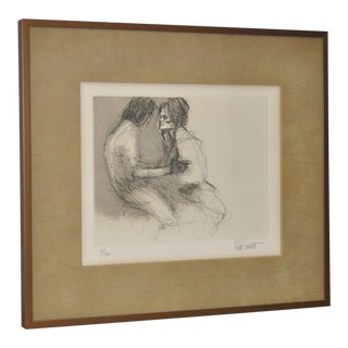 1970s Vintage Limited Edition Lithograph of a Young Couple by Aldo Luongo
