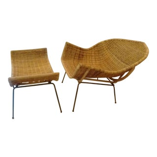 Wicker & Wrought Iron Lounge Chair & Ottoman