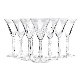 Art Deco Flared Cordial Stems - Set of 10