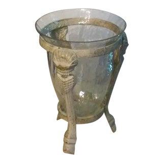 Cast Metal Frame Hurricane Vase