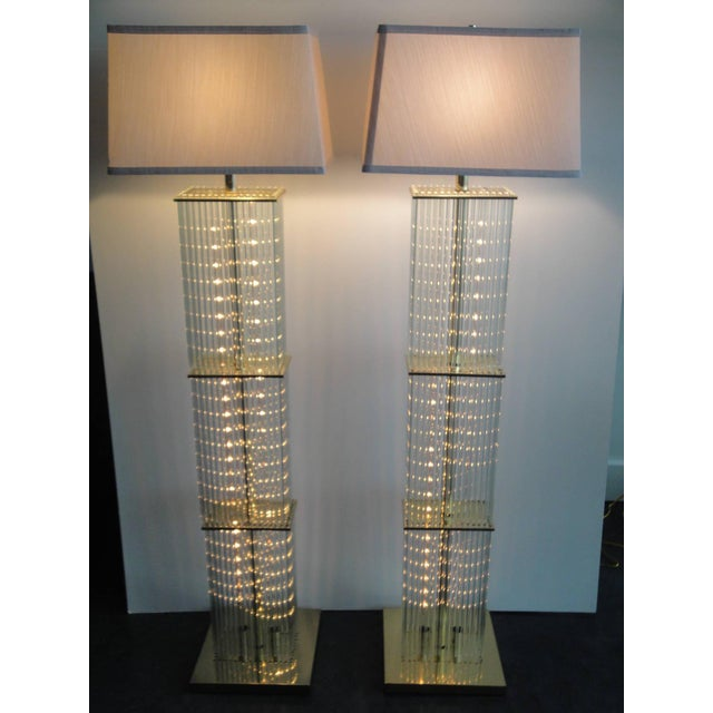 Pair of Sciolari Brass and Glass Floor Lamps for Lightolier - Image 2 of 9