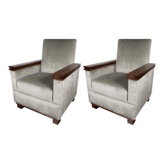 Stunning Pair of Art Deco Cubist Style Mahogany and Black Lacquer Club/Armchairs