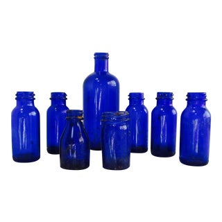 "Antique Cobalt Blue Glass ""Bromo Seltzer"" Bottles - Set of 8"