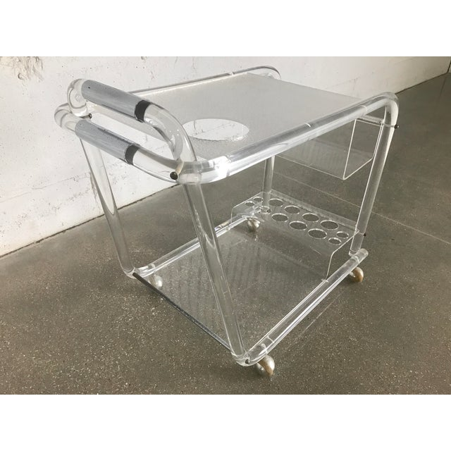 Charles Hollis Jones Mid-Century Modern Lucite Bar Cart - Image 2 of 8