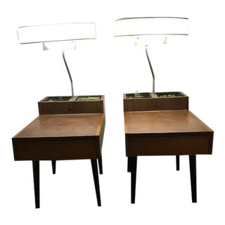 Brown Saltman End Tables With Round Fluorescent Lights - A Pair