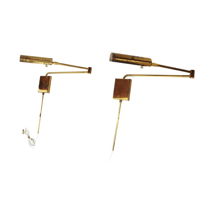Swing Arm Sconces in Brass by Koch + Lowy - a Pair - Image 1 of 9