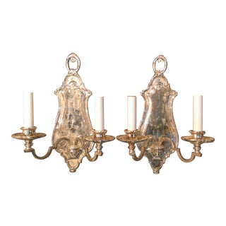 Early 20th Century Edward F. Caldwell Silver Plated Wall Sconces - A Pair