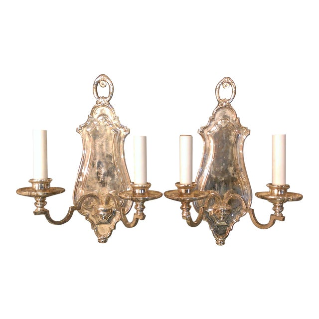 Image of Early 20th Century Edward F. Caldwell Silver Plated Wall Sconces - A Pair