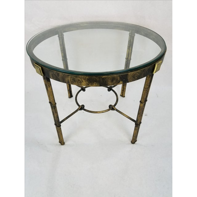 Round Regency-Style Faux Bamboo Table - Image 2 of 5