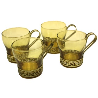 Mid-Century Amber Glass and Brass Coffee Cups - 4