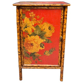 Painted and Decoupage Bamboo Side Cabinet